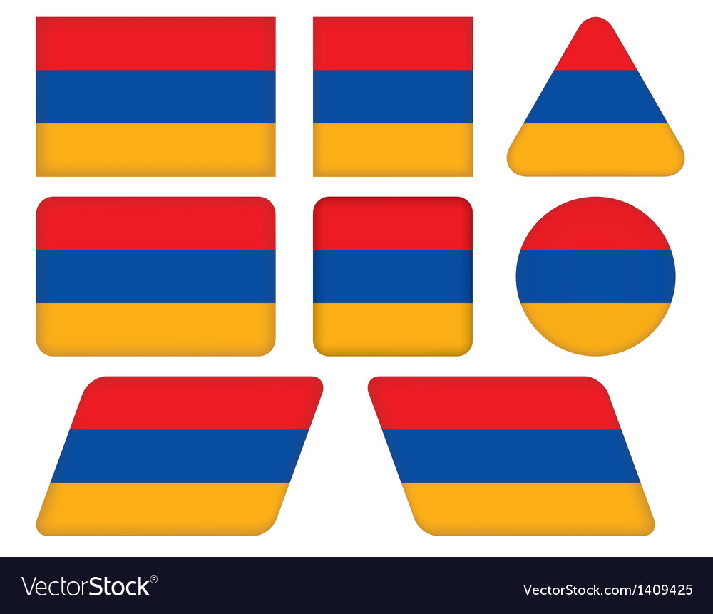 Buttons with flag of Armenia vector image