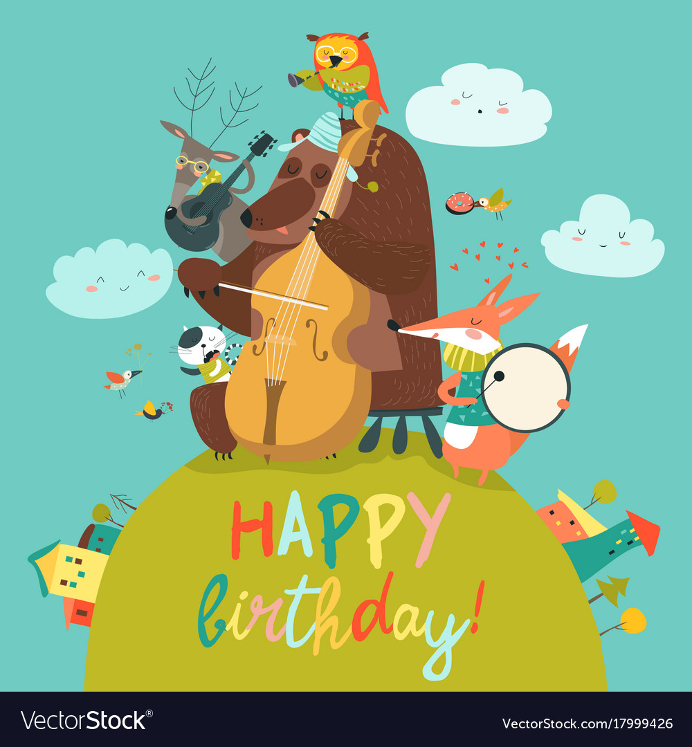 Cute birthday card with animals and music vector image bookmarktalkfo