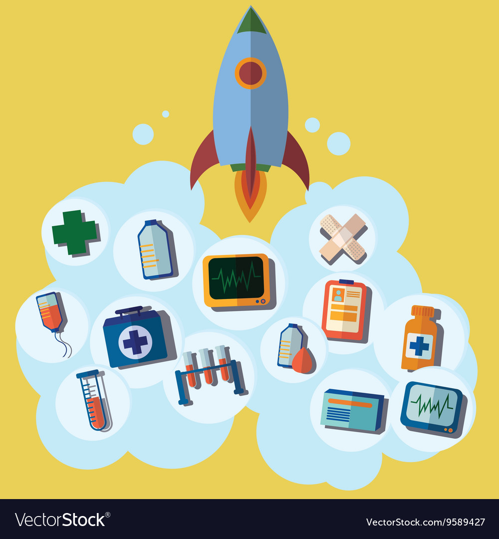 Rocket icon first help emergency medical icons vector image