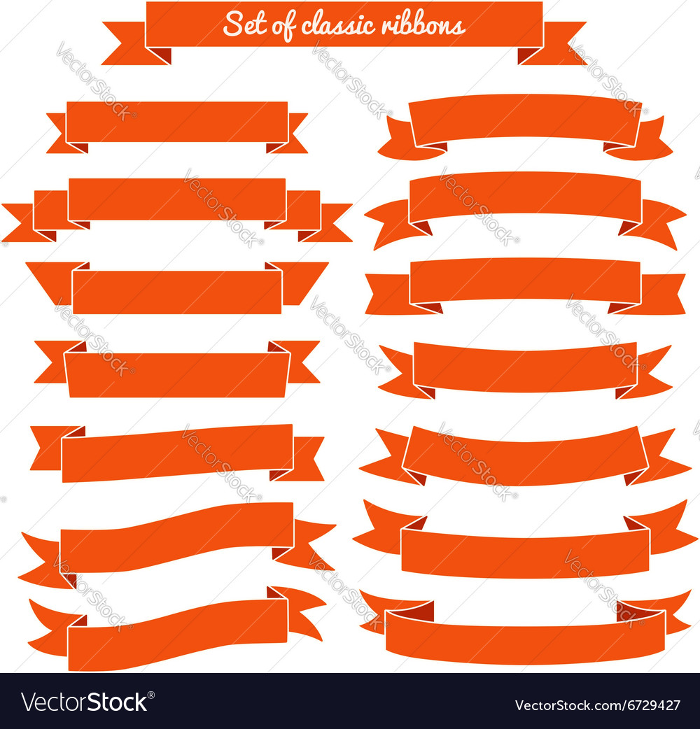 Set of red ribbon banners vector image
