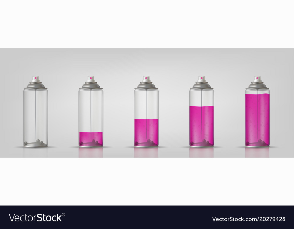 Transparent aerosol spray can with different paint vector image