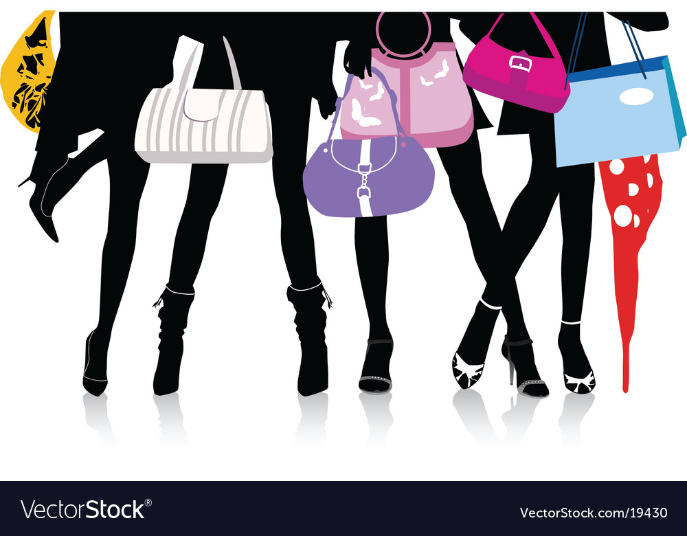 Fashion hand bags and heels vector image
