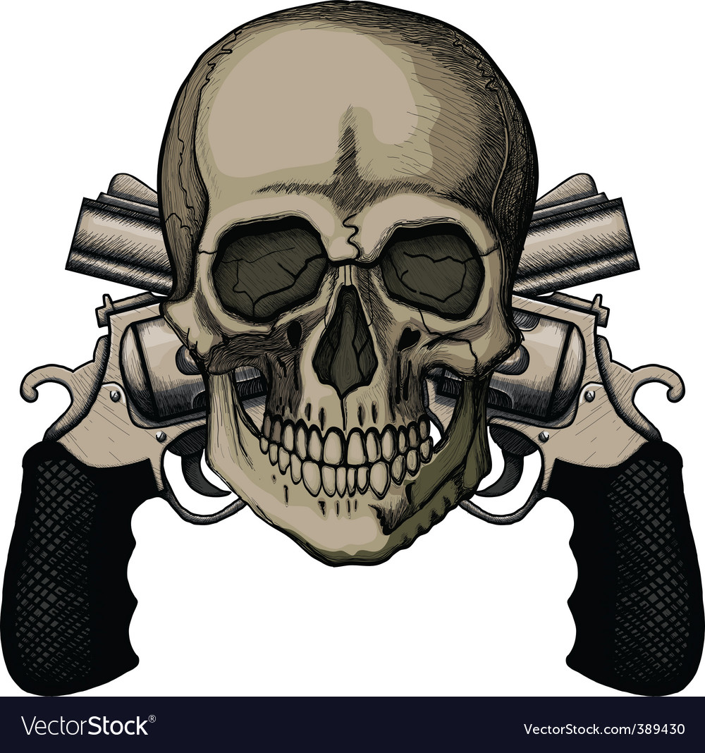 Skull and two crossed revolvers vector image