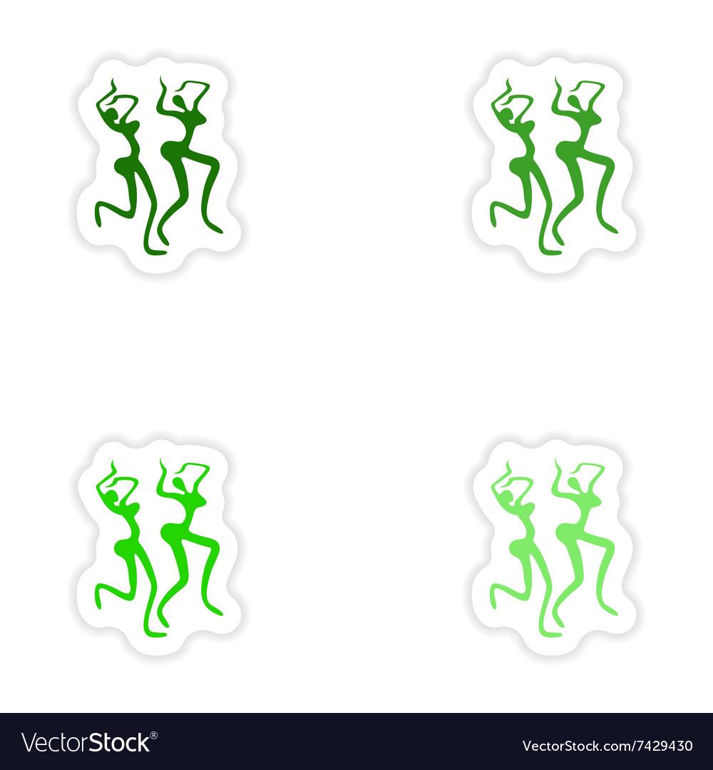 Concept stylish paper sticker on white background