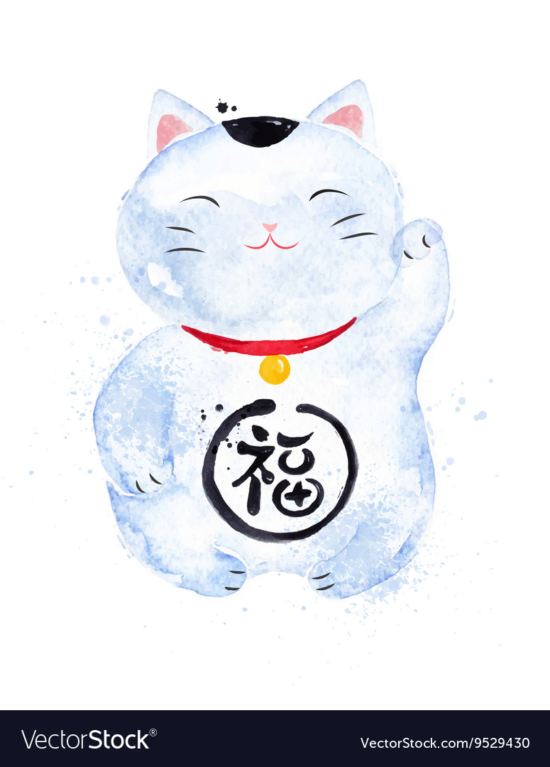 Chinese symbols lucky cat vector image