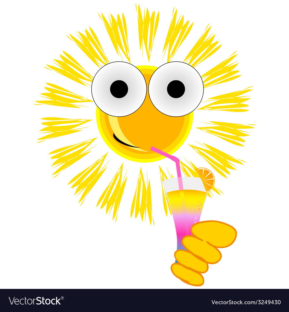 Sun drink cocktail cartoon vector image