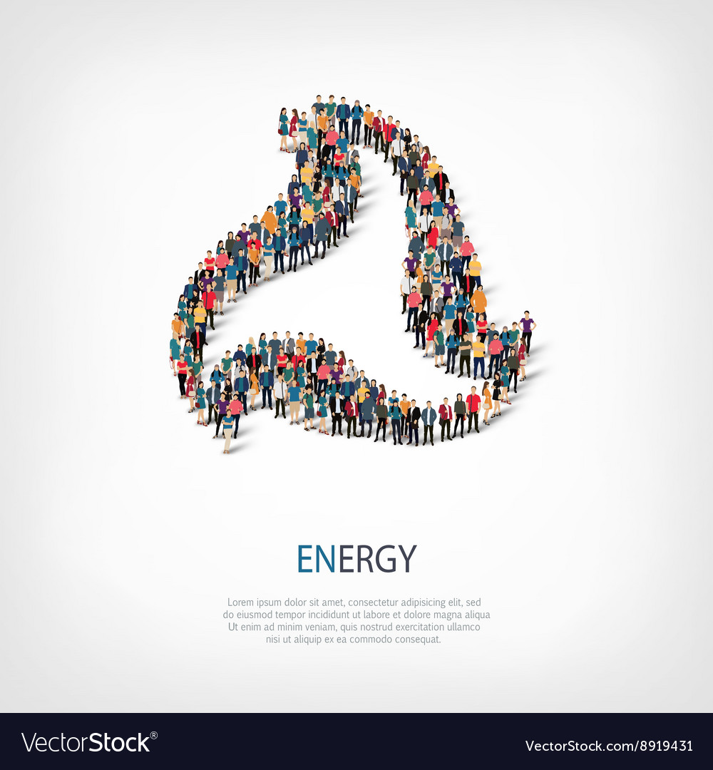 Energy people sign 3d vector image