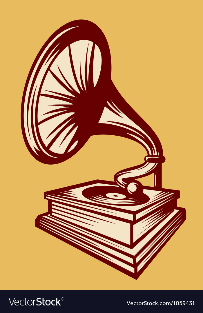 Gramophone with horn speaker vector image