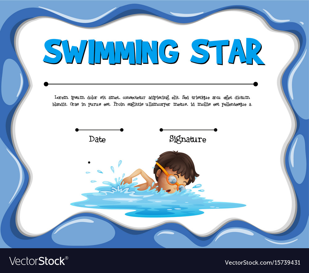 Swimming star certification template with swimmer vector image swimming star certification template with swimmer vector image alramifo Image collections