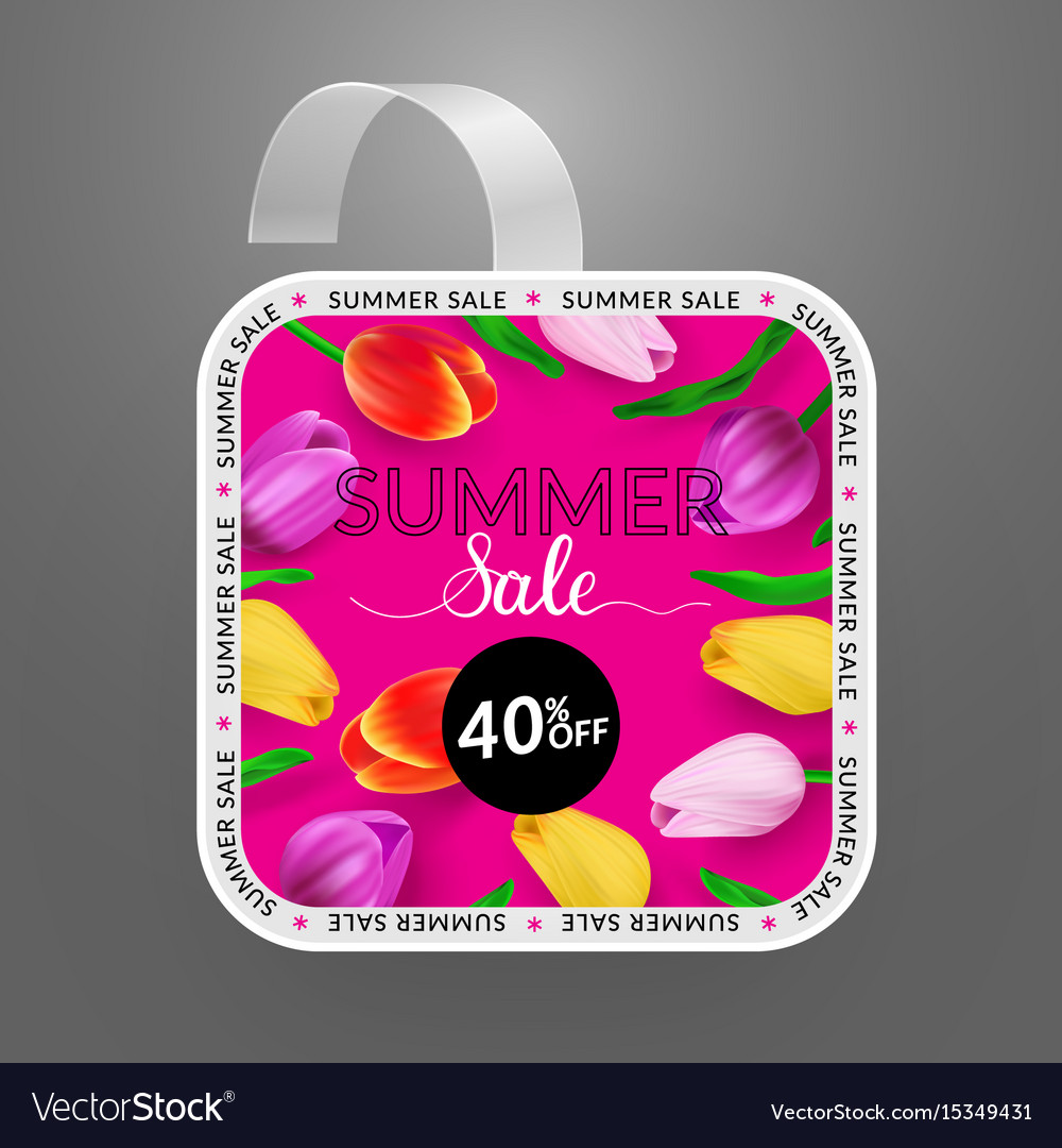 Wobbler design template summer sale with bright vector image