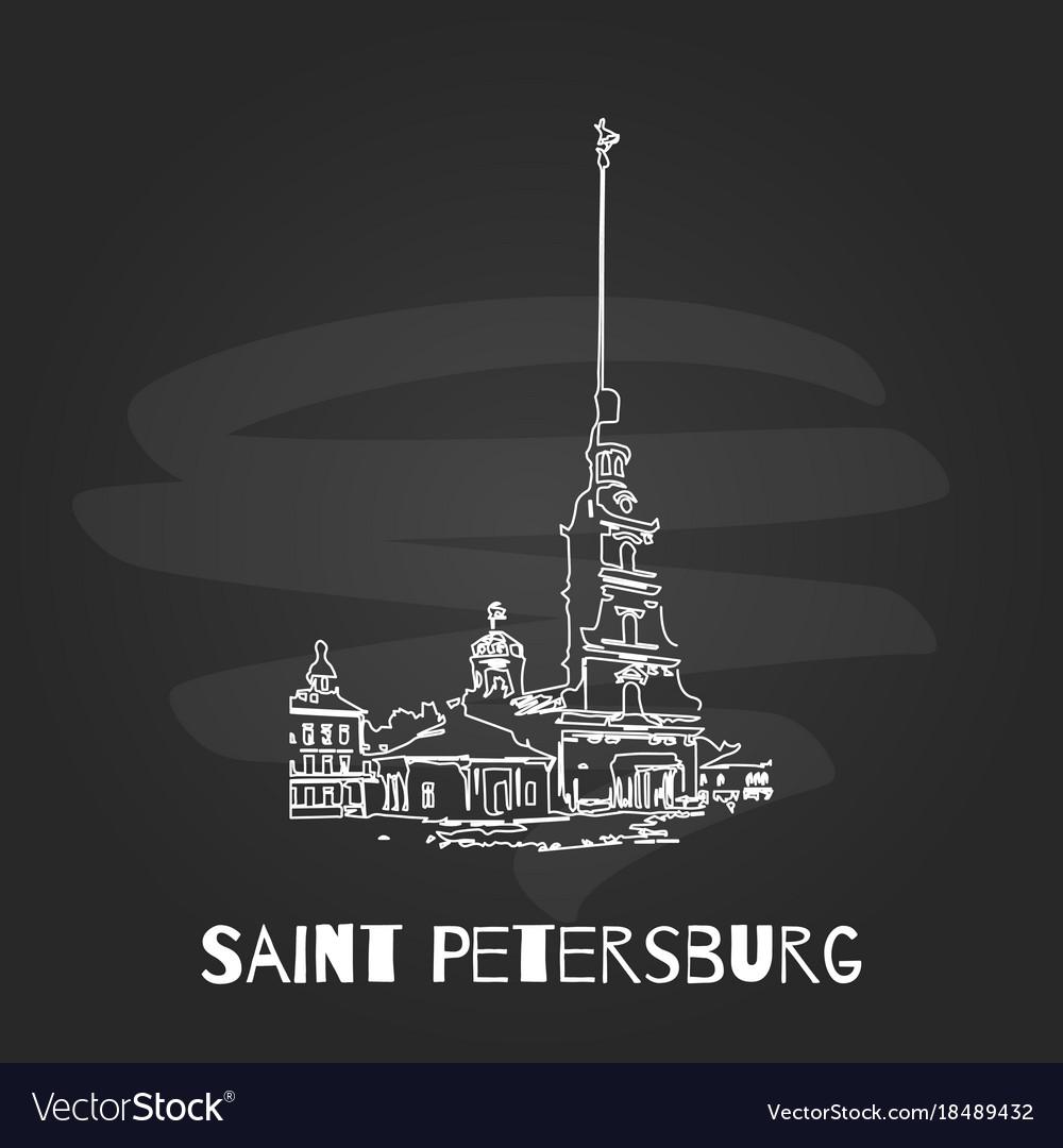 Chalkboard saint petersburg hand drawn poster vector image