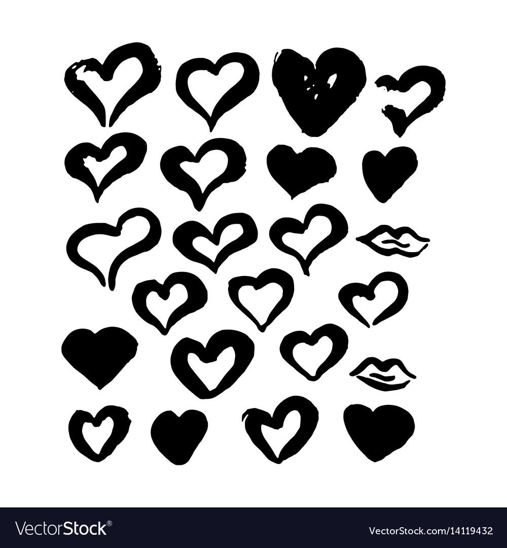 Hand drawn ink brush hearts vector image