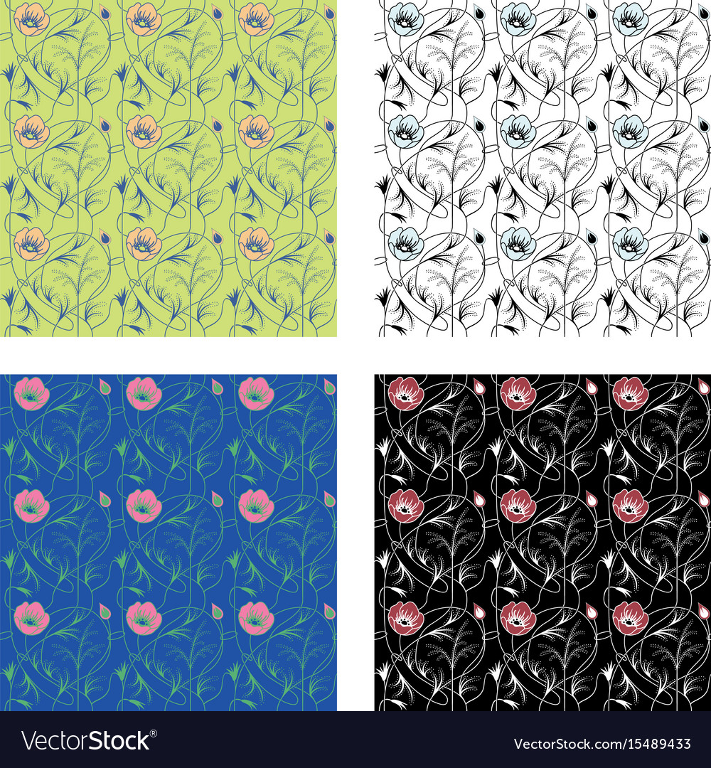 Art nouveau flowers pattern vector image