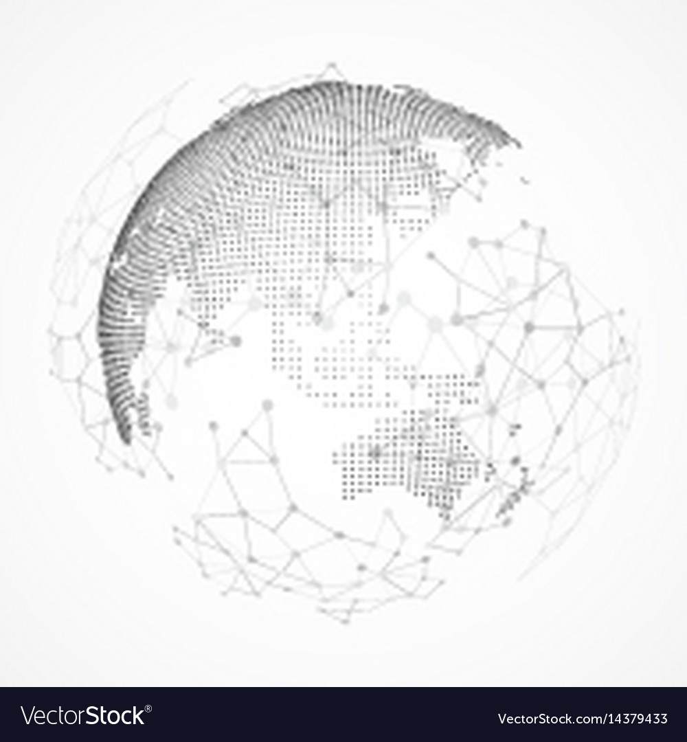 Technology image of globe point and curve vector image