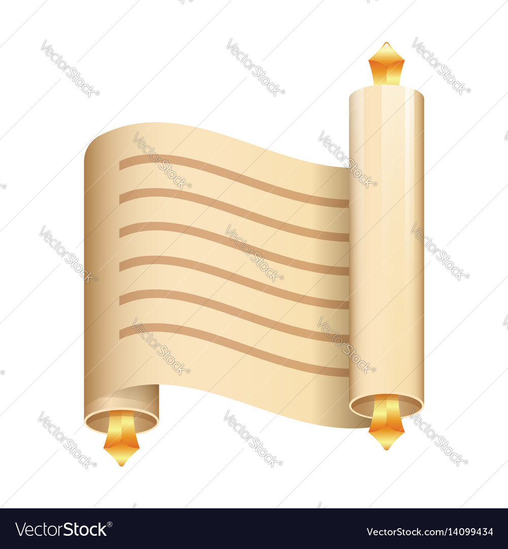 Paper scroll flat icon on white background vector image