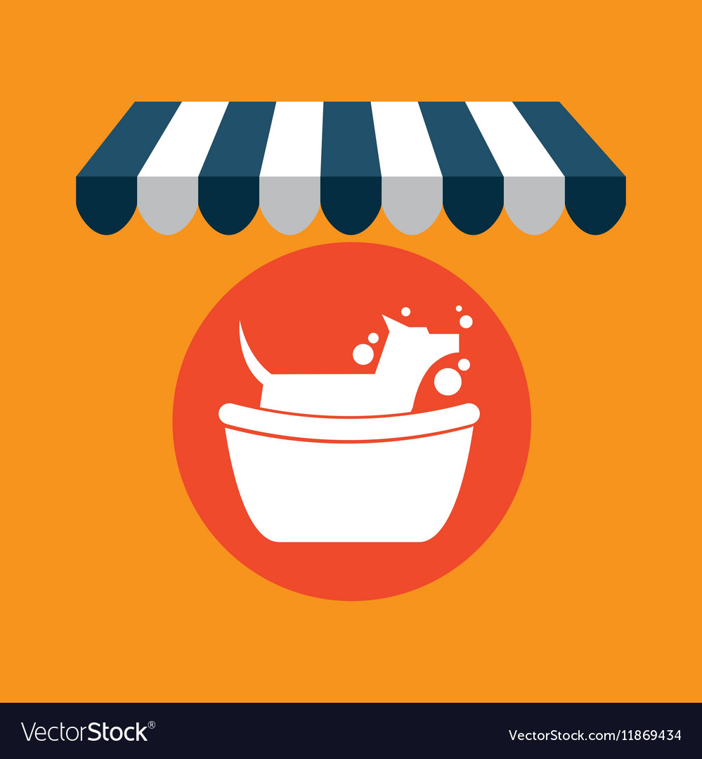 Pet shop with dog groomming vector image