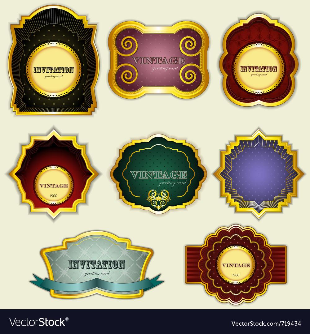 Vintage gold labels set - vector image