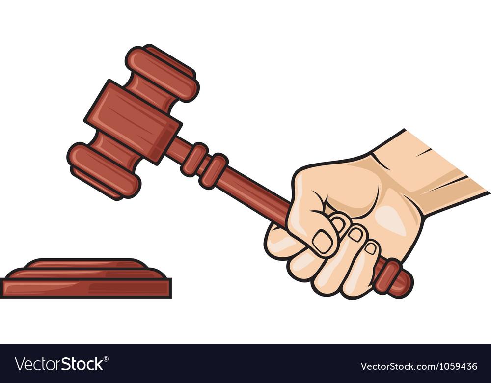 Wooden gavel in hand vector image