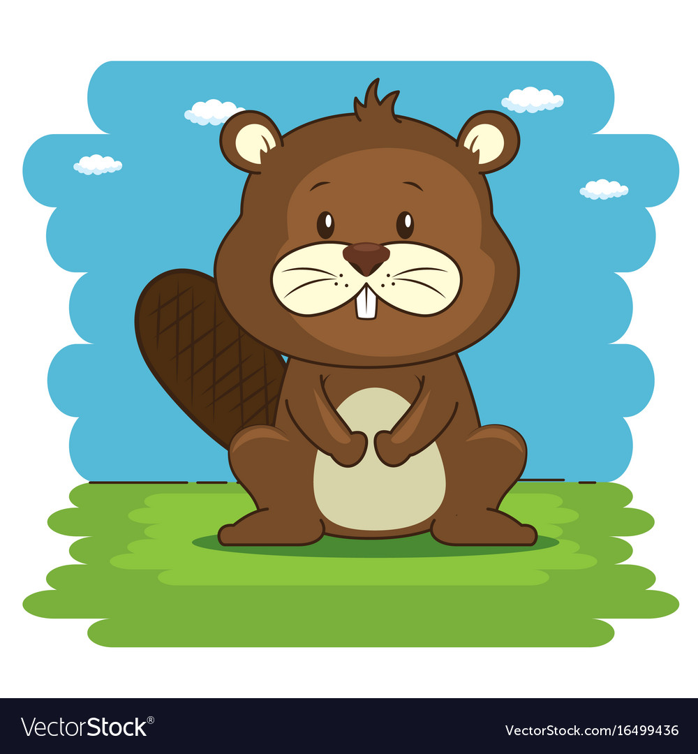 Cute adorable beaver animal cartoon vector image
