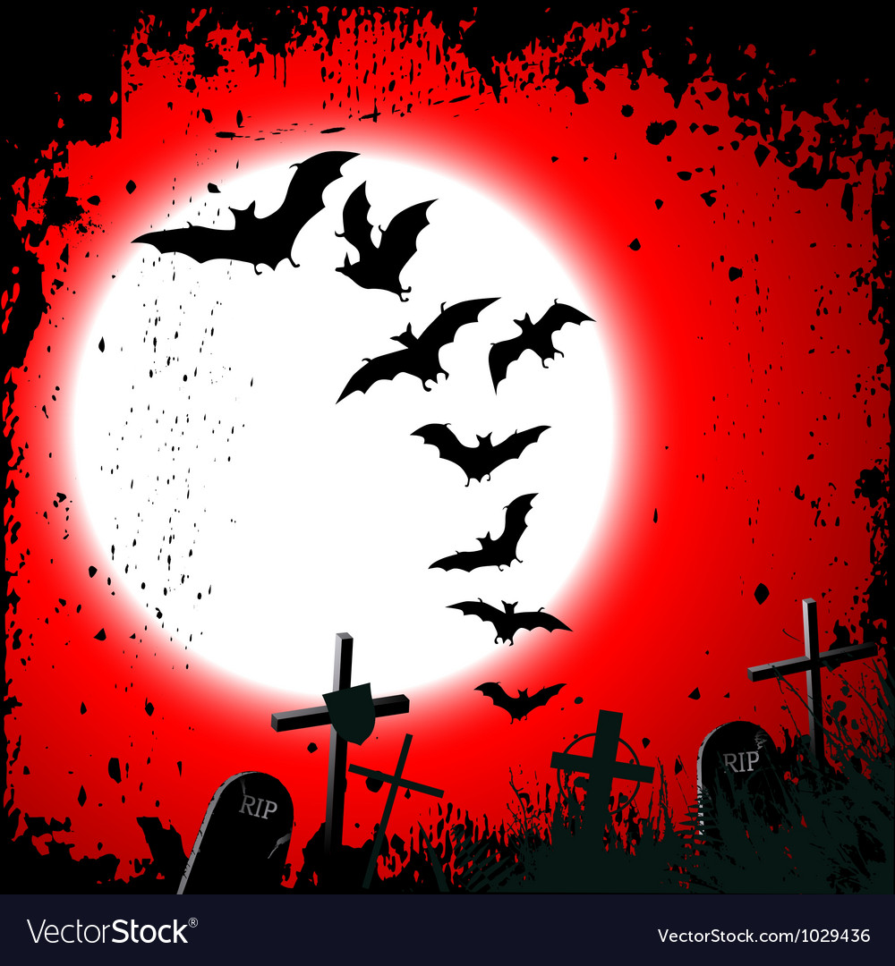 Halloween background destroyed cemetery in full Vector Image
