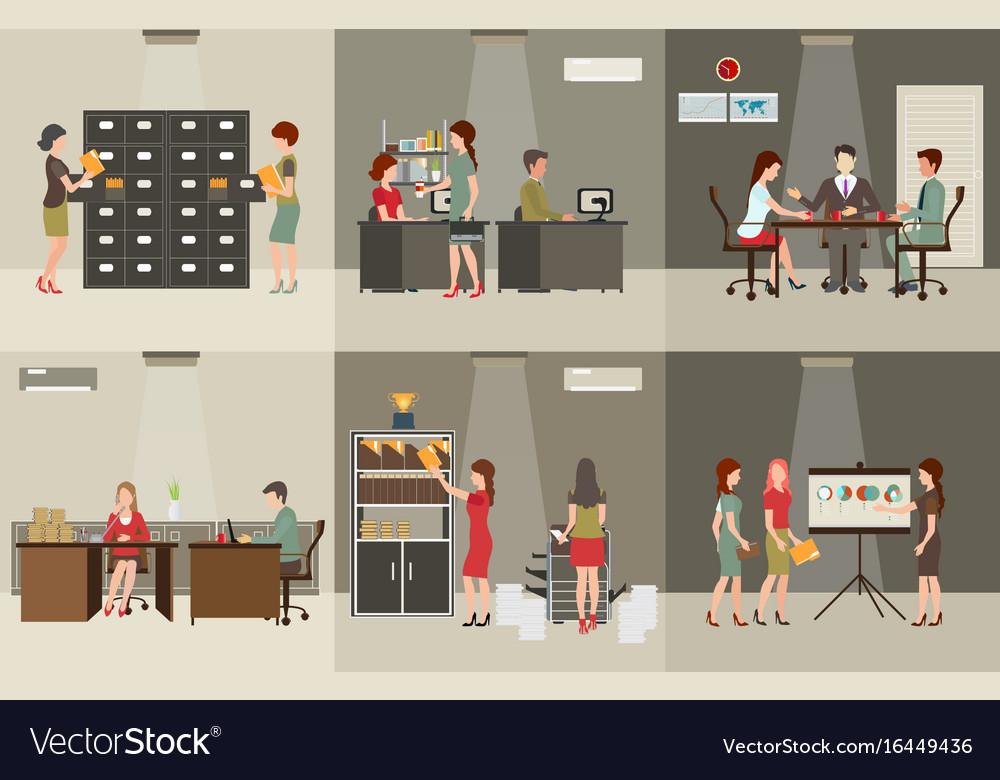 Interior office building vector image