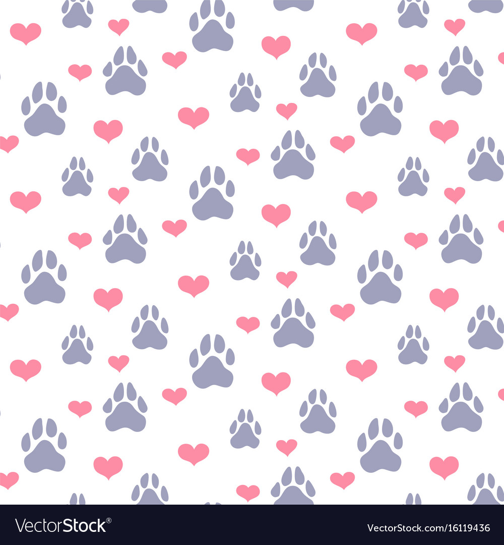 Paw prints and hearts pattern vector image