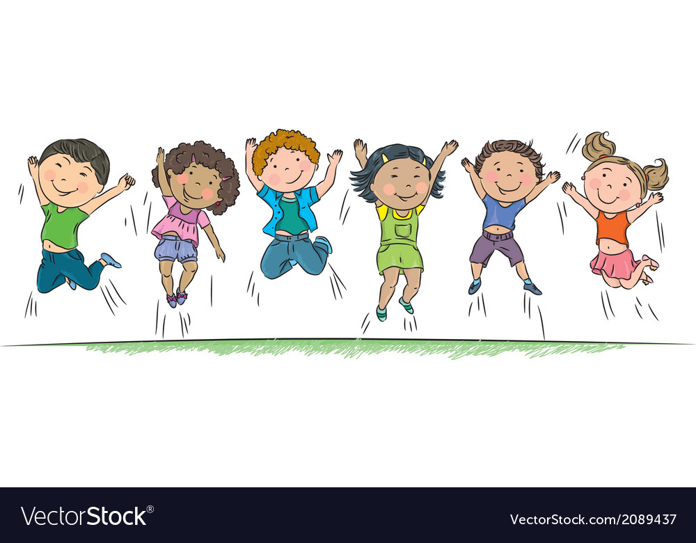 happy children jumping royalty free vector image Black and White Clip Art Boy and Girl Holding Hands Two Friends Holding Hands Clip Art