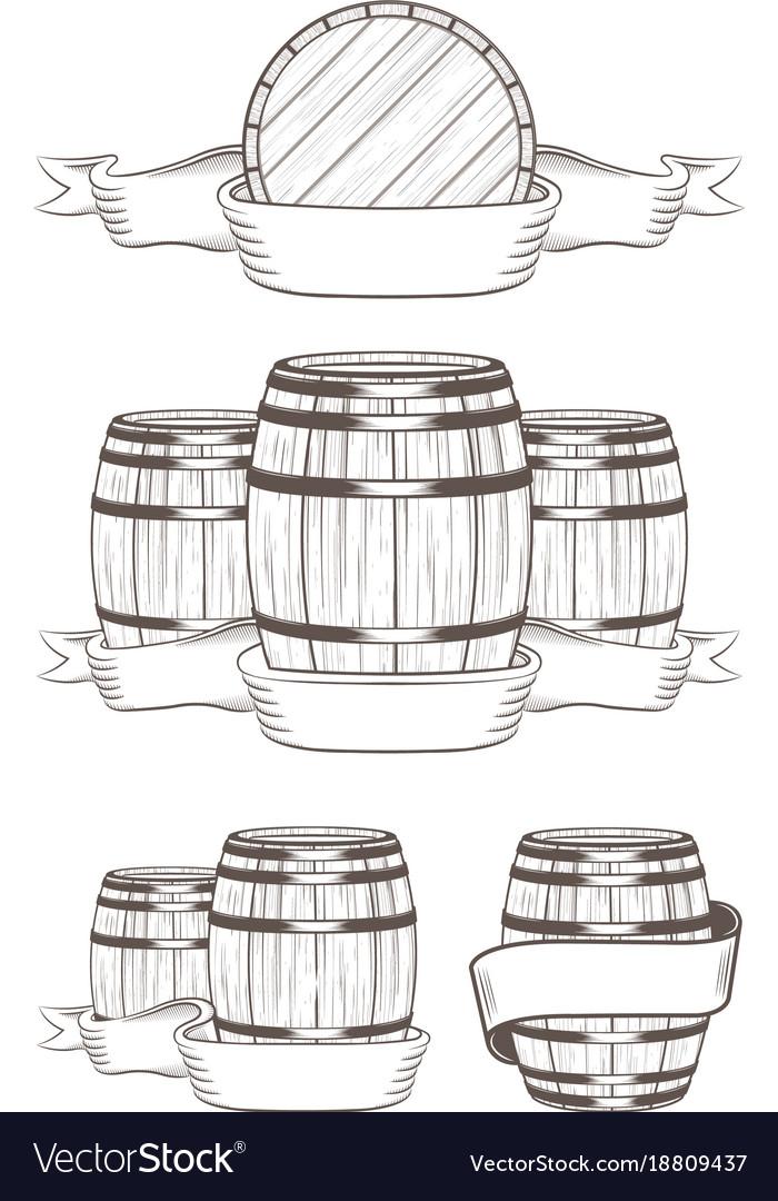 Set barrels with labels vector image