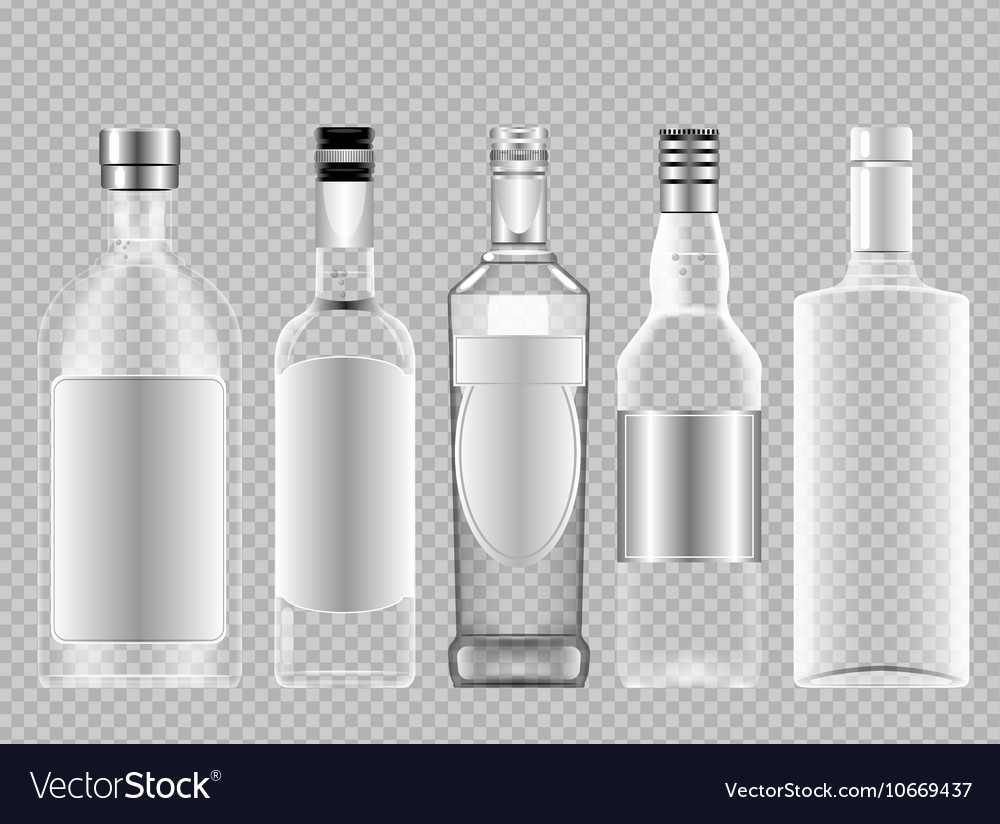 Set of transparent glass vodka alcohol vector image