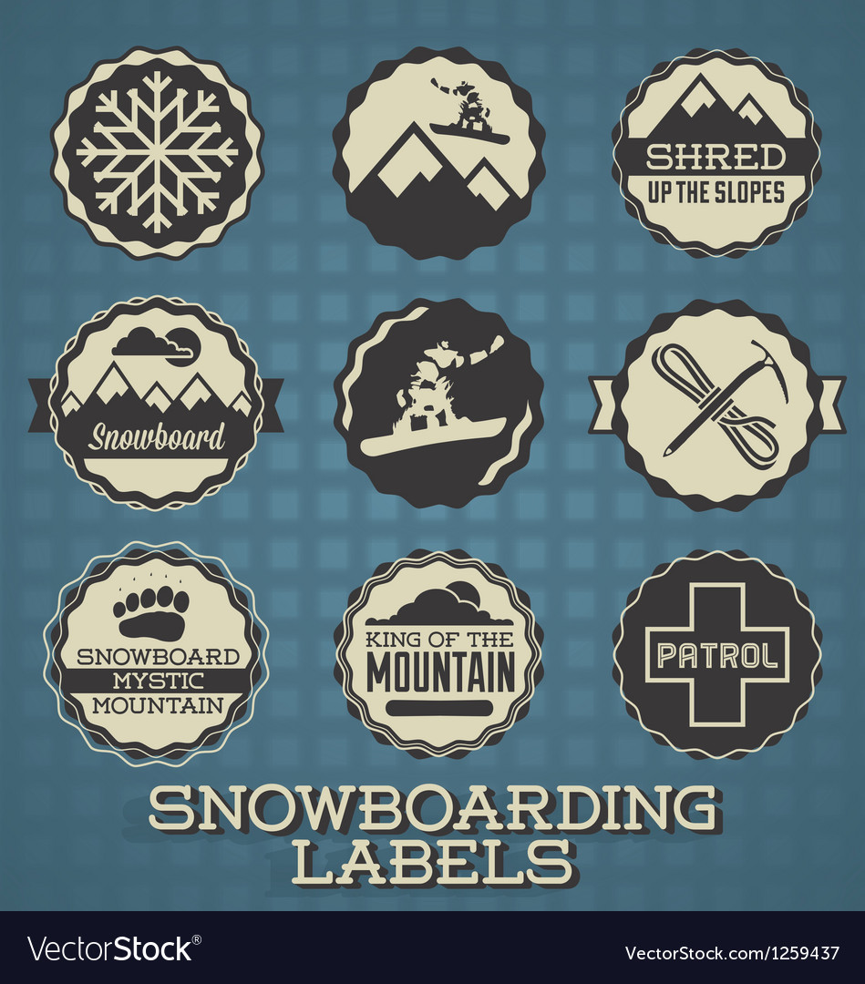 Snowboarding Labels and Icons vector image