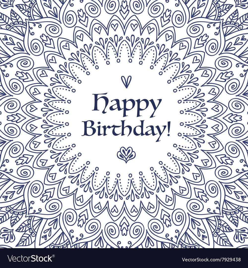 Mandala happy birthday card royalty free vector image - Mandala anniversaire ...