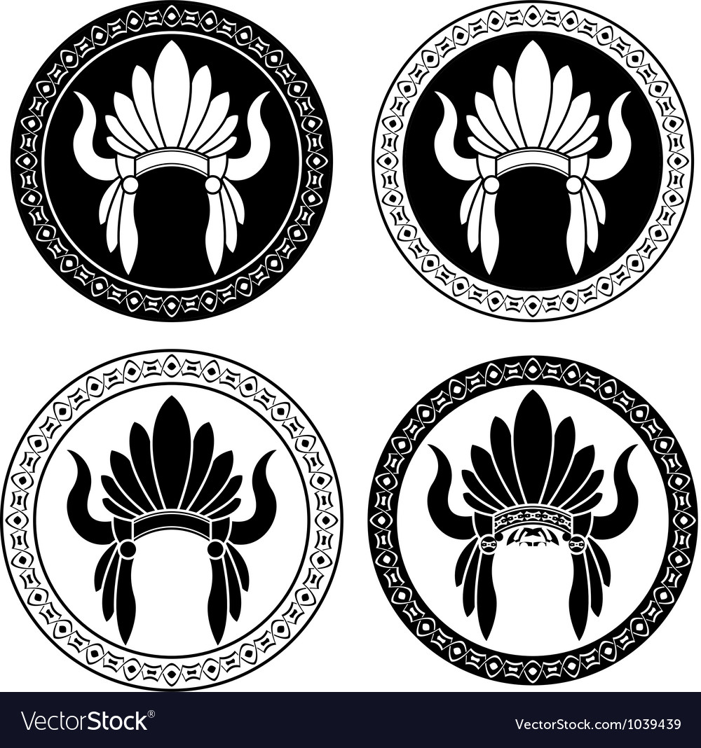 Native American Indian headdress stencils vector image