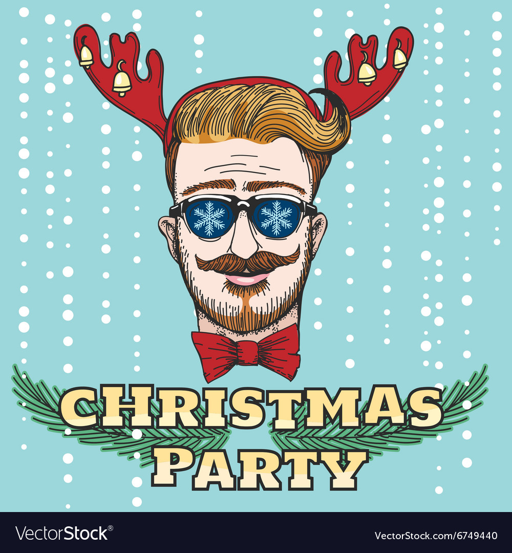Hipster Christmas Party Design vector image