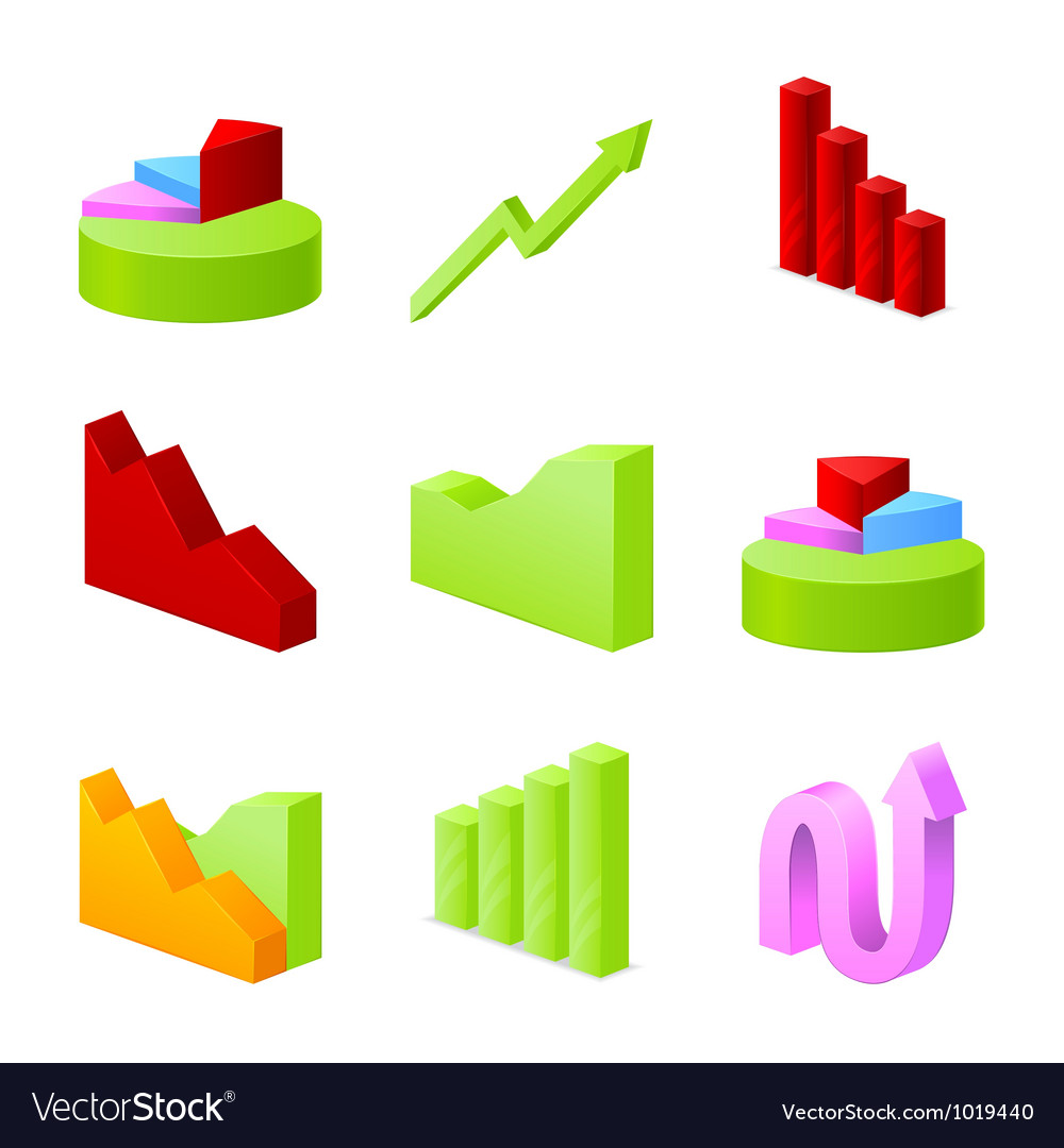 Icons fo business chart collection vector image