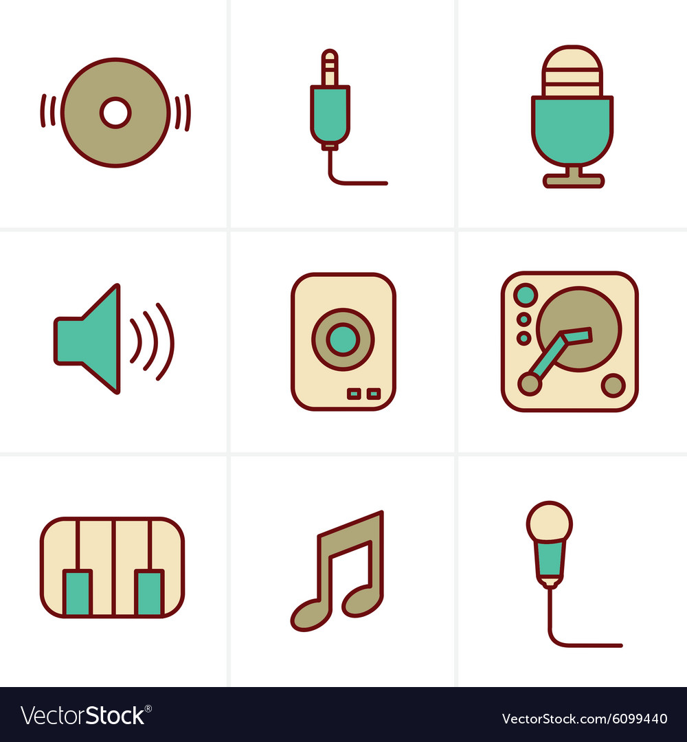 Icons Style Music Icons Set Design vector image