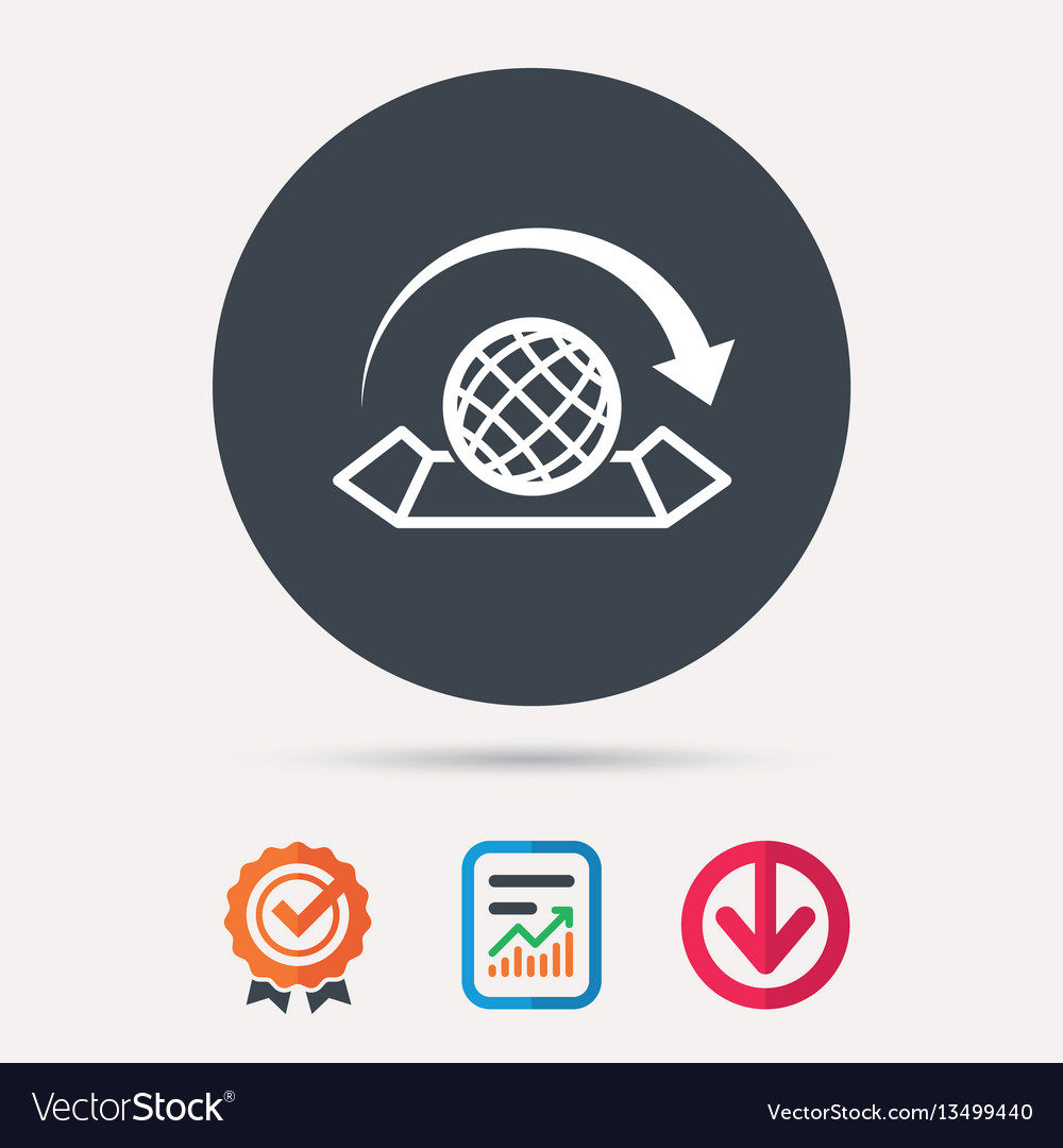 World map icon globe with arrow sign royalty free vector world map icon globe with arrow sign vector image gumiabroncs Image collections