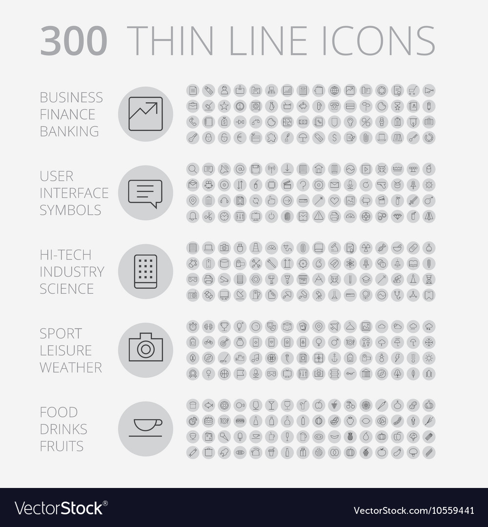 Icons line set round thin vector image