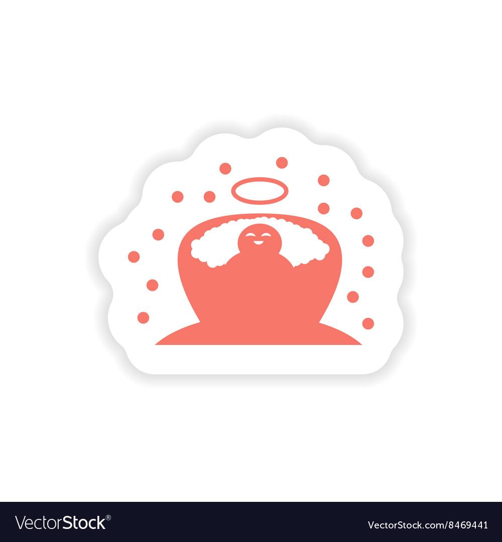 Paper sticker on white background newborn Jesus