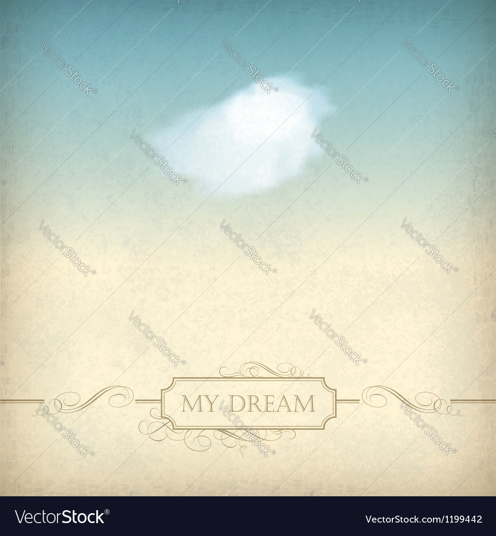Vintage sky old paper background with cloud frame vector image