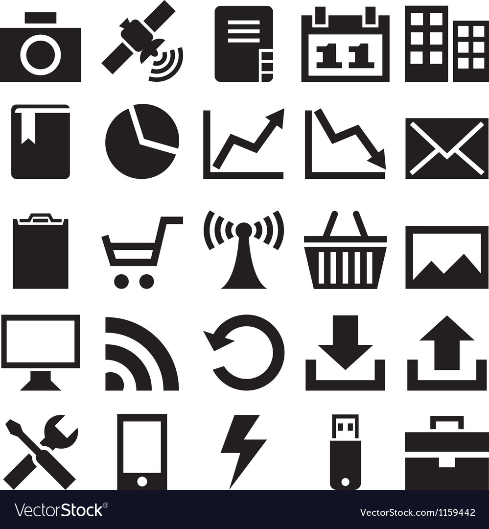 Set internet icons vector image