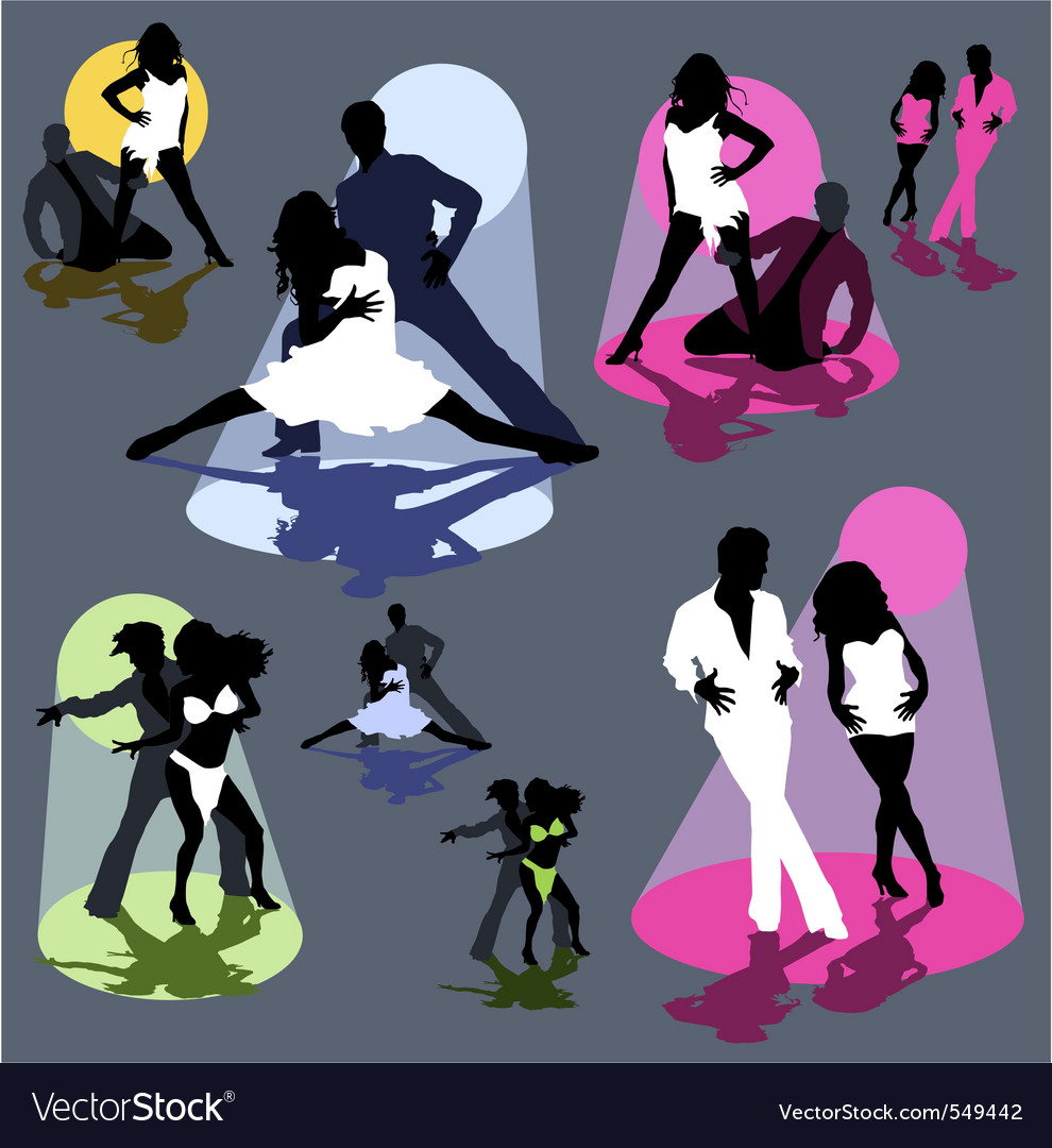Set silhouettes dancing couple vector image