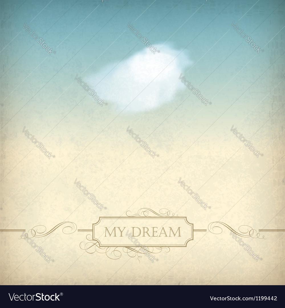 Vintage sky old paper background with cloud frame vector image
