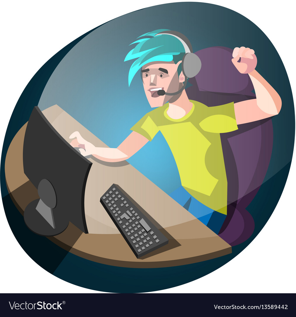 Young gamer using computer for playing games vector image