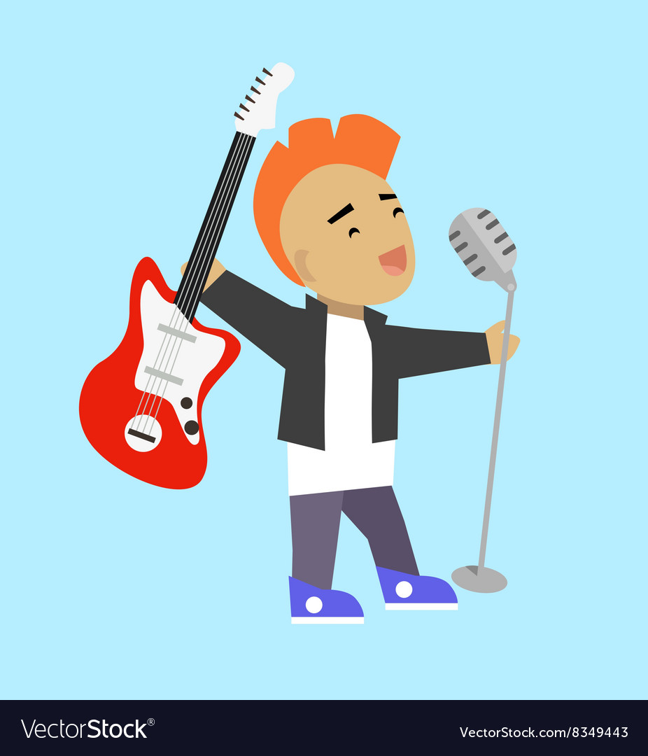 Singer Guitarist with Microphone and Guitar vector image