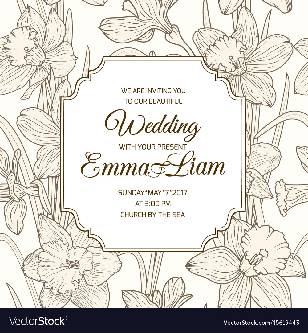 Wedding invitation card daffodil narcissus flowers vector image