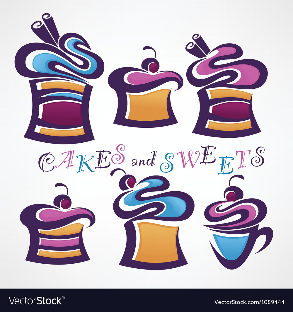 Collection of funny colored sweets and cake vector image