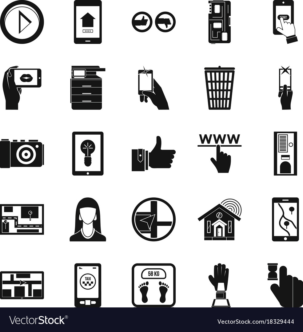 Flat screen icons set simple style vector image