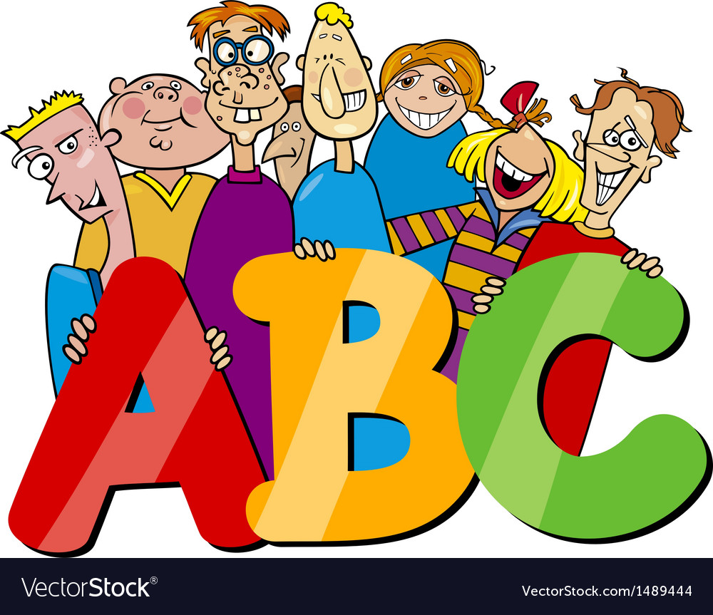 Kids with abc letters cartoon vector image
