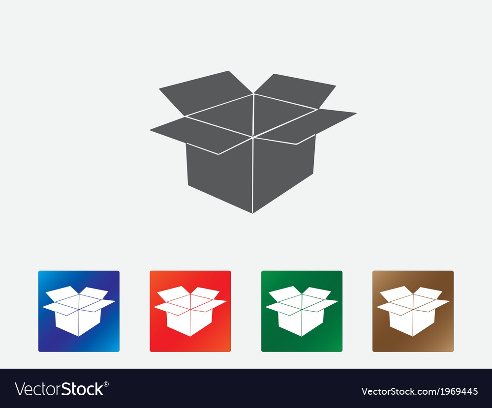 Open box icons vector image