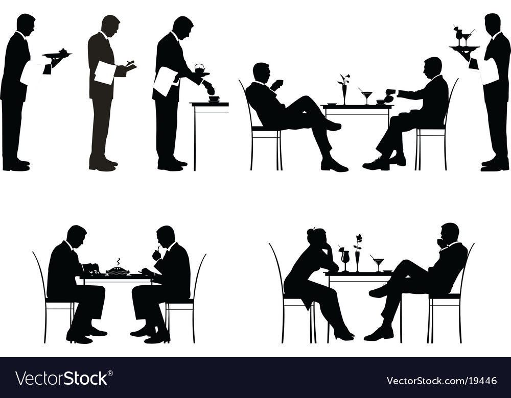 Restaurant silhouettes vector image